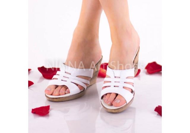 Sandale dama din piele naturala - NA178ALB