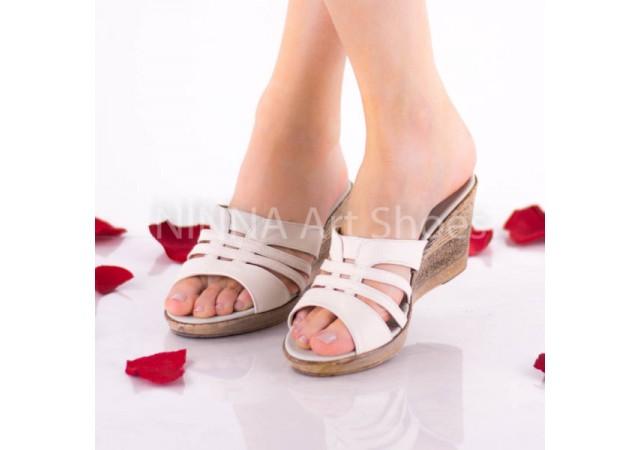 Sandale dama din piele naturala - NA178CREM