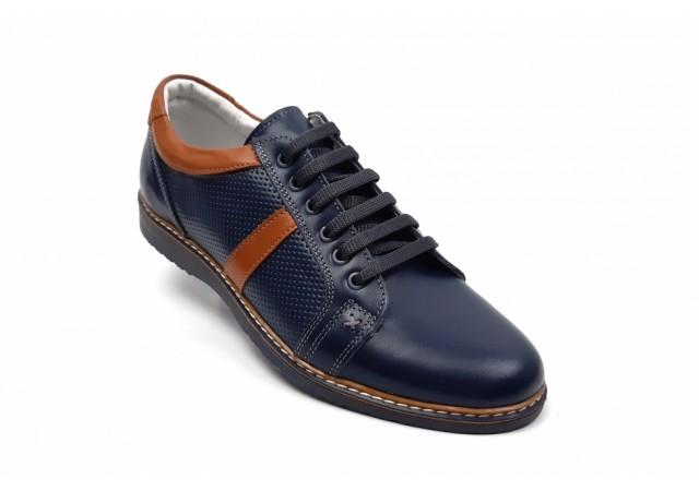 Pantofi barbati sport, casual din piele naturala bleumarin - TENMAROALBASTRU