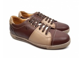 Pantofi barbati casual nisip din piele naturala cu siret (brant siliconic) - Model 747M