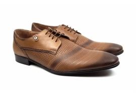Pantofi barbati eleganti din piele naturala maro deschis - 730NIS