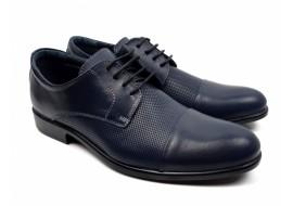 Pantofi barbati casual din piele naturala bleumarin - 8305BLUE