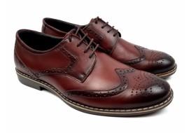 Pantofi barbati casual din piele naturala box, visiniu- 500VIS
