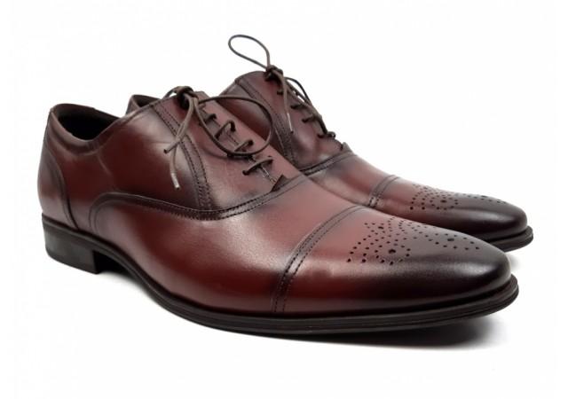 Pantofi barbati casual din piele naturala box, visiniu- 356VIS