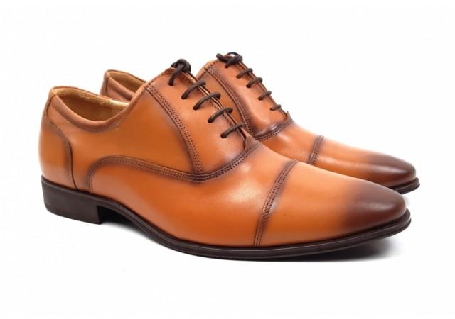 Pantofi barbati eleganti din piele naturala maro BRUNO - 347CON