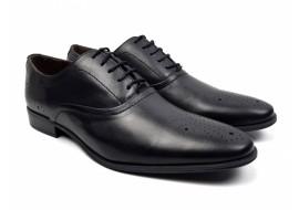 Pantofi barbati eleganti din piele naturala maro cu siret - 585N