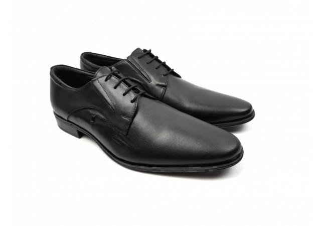 Pantofi barbati eleganti din piele naturala de culoare neagra - cod 169N