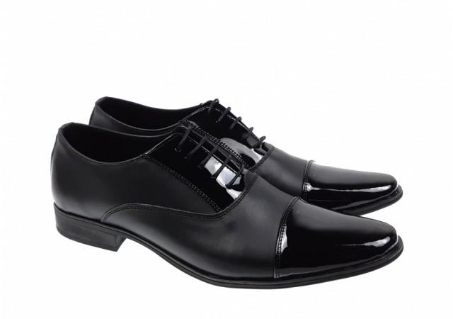 Oferta marimea 38, 43  - Pantofi barbati, eleganti, din piele naturala box si lac - LCIOCSTEFLACBOX