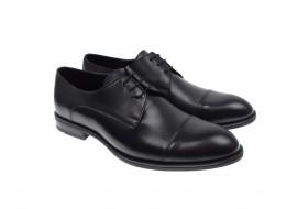 Pantofi barbati eleganti negri derby din piele naturala - 002N