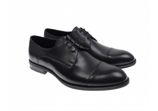 Pantofi barbati eleganti negri derbi din piele naturala - 002N