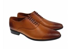 Pantofi barbati eleganti maro oxford din piele naturala - 245M