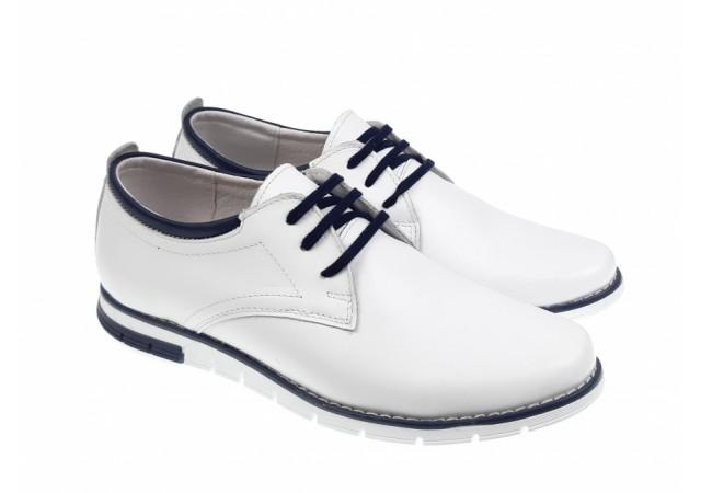 Pantofi casual - sport barbati din piele naturala,culoare alba - TENBOXYANISALB