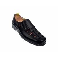 Oferta marimea 42 Pantofi barbati casual decupati din piele naturala - Negru LP31N
