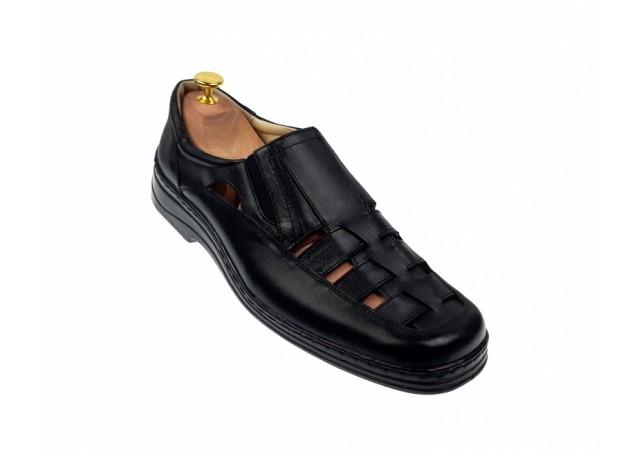 Pantofi barbati casual decupati din piele naturala - Negru P31N