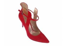 Pantofi dama stiletto rosii, din piele naturala (intoarsa), toc 8cm, Roxanne - ROXY72R