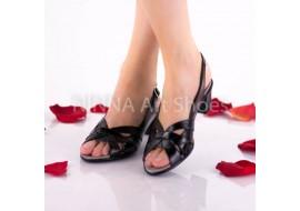 Oferta marimea 41 - Sandale dama, negru, din piele naturala cu piele lacuita - LNA229NPL