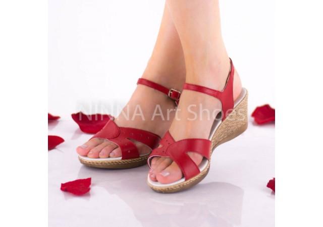 Sandale dama, rosii, din piele naturala - NA302ROSU
