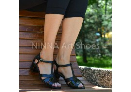 Sandale dama negre, din piele naturala toc 6cm - NAA55NEGRU