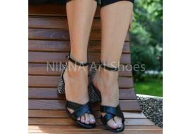 Sandale dama negre cu alb, din piele naturala toc 6cm - NAA56NEGRU