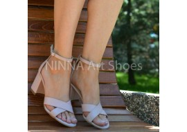 Sandale dama din piele naturala, nude toc 6cm - NAA55NUDE