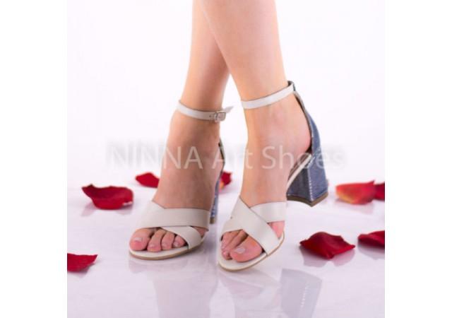 Sandale dama crem-albastre, din piele naturala toc 7cm - NAA56CREM