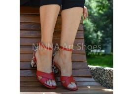 Sandale dama din piele naturala, rosii cu floricele toc 6cm - NAA56ROSUF