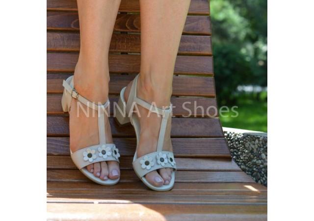 Sandale dama crem, din piele naturala toc 6cm - NAA58CREM