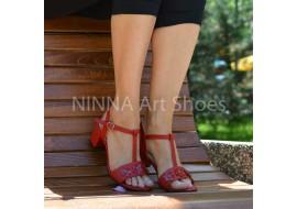 Sandale dama din piele naturala, rosii - NAA58ROSU