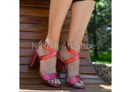 Sandale dama din piele naturala, rosu-sidef cu toc de 9cm - NAA61ROSUS