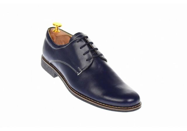 Oferta marimea  41, 42  -  Pantofi barbati, casual- eleganti, din piele naturala, bleumarin inchis, LP80BLM