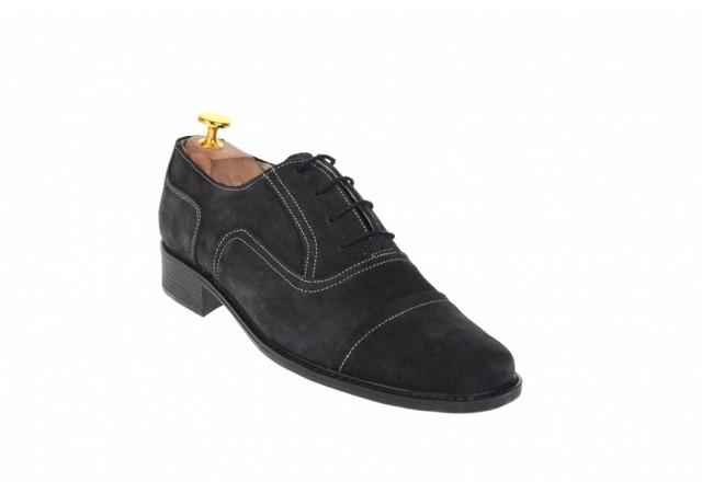 Pantofi barbati eleganti din piele naturala, intoarsa, culoare gri inchis, P32G