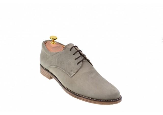 Pantofi barbati gri, casual, eleganti din piele naturala intoarsa - CARLO