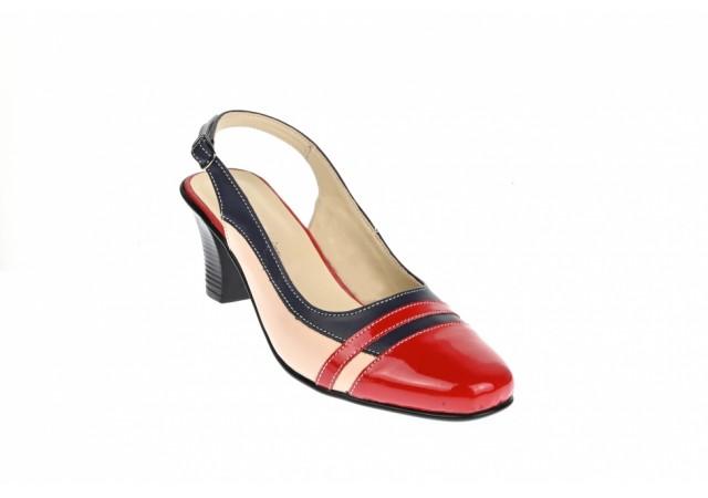 Pantofi dama decupati, eleganti, din piele naturala, cu toc mic - S301RBLBEJ