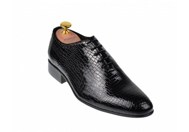 Pantofi barbati lux, eleganti din piele naturala negri, EL PATRON, 024CROCO1N