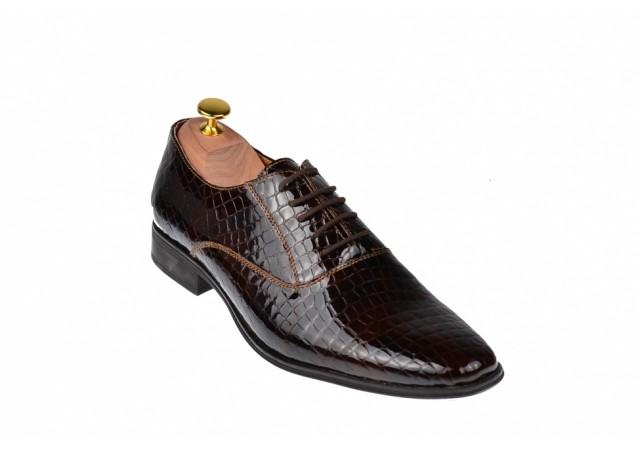 Pantofi barbati eleganti din piele naturala CROCO LAC CIOCSTEFCROCOVIS