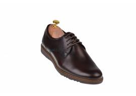 Pantofi barbati casual din piele naturala maro inchis - SIR135ML