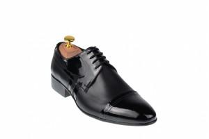 Pantofi barbati lux - eleganti din piele naturala negri -  018BOXLAC