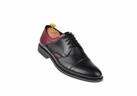 Pantofi barbati casual din piele naturala, negru, bordo SIR156NVIS