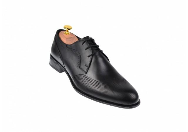 Pantofi barbati office, eleganti din piele naturala SIR020NEGRU