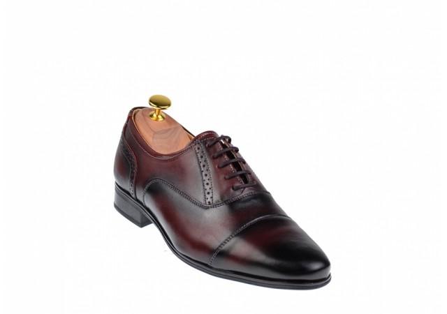 Oferta marimea 39, 41, 43  - Pantofi barbati eleganti oxford, din piele naturala bordeaux L893VIS