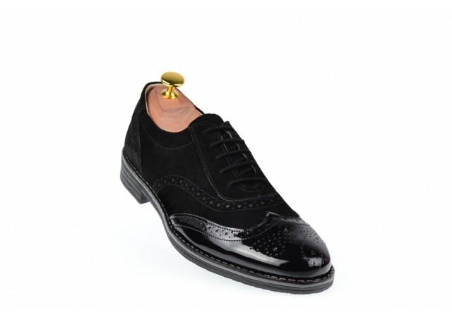 Pantofi barbati casual - eleganti, din piele naturala, varf lacuit - 870LVN