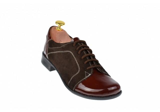 Oferta marimea 37 - Pantofi dama, casual, din piele naturala intoarsa,  maro, cu varf lacuit - LP53MM