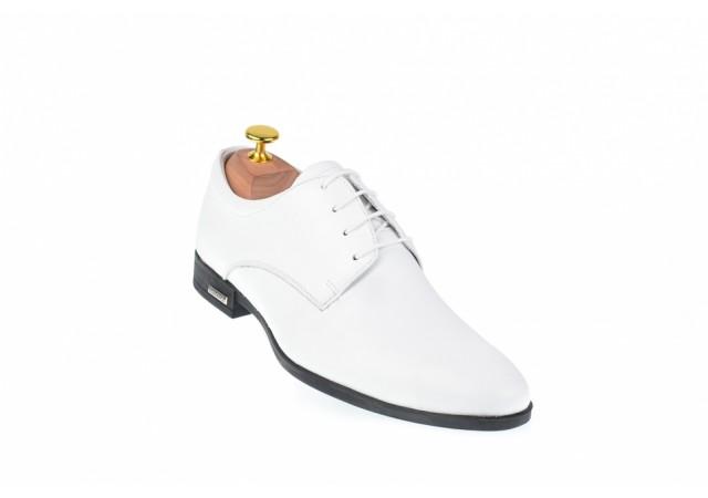 Pantofi albi barbati, clasici, eleganti din piele naturala box - PABOXA