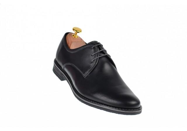 Pantofi barbati casual din piele naturala box, culoare neagra 336NBOX