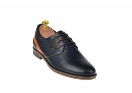 Pantofi barbati casual din piele naturala bleumarin si maro - SIR140MBL