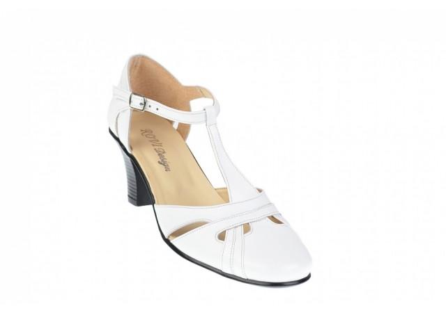 Sandale albe dama din piele naturala cu toc de 7cm - S48A