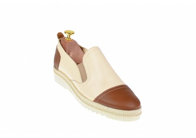Oferta marimea 37, 38, 39 - Pantofi dama casual din piele naturala cu elastic - LP39MBEJ