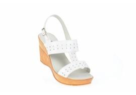 Sandale albe dama din piele naturala lacuita, cu platforme de 8 cm S46LA