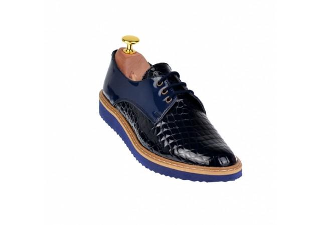 Lichidare marimea 37 Pantofi dama casual din piele naturala - L140ALBASTRULACCROCO