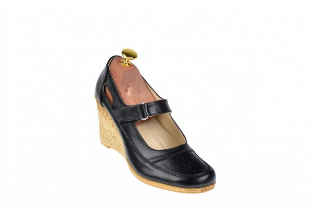 Pantofi dama cu platforma din piele naturala - Foarte comozi P9154NBOX